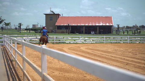 Man riding a horse in a ranch farm. Horse rider training and practicing in big Acción en vivo