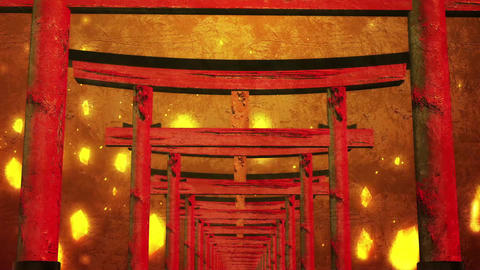 Japanese style background of the torii gates of Japanese shrines and temples Animation
