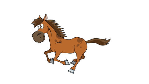 Horse Cartoon Character Running Animation