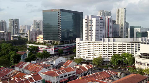 Masjid Sultan, Singapore Mosque in historic Kampong Glam. Panoramic aerial view Live Action