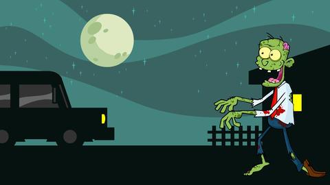 Zombie Cartoon Character Walking With Hands In Front CG動画