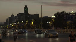 The sunset in Beijing.Time lapse. The car ride on the road to the city center Footage