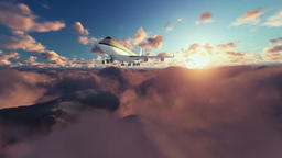 Boeing airplane flying above clouds at sunrise Animation