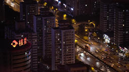 Beijing night. The landscape of the city from a height Footage