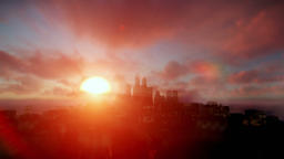 Boeing cruising over night city with beautiful sunrise Animation