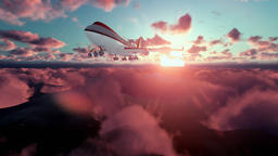 Boeing airplane flying above clouds at sunset Animation