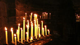 Burning candles in the Church of Saint Peter, Portovenere Footage