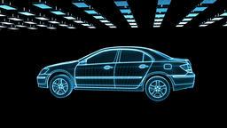 Car sketch rotating, seamless loop Animation