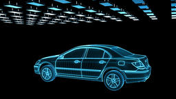 Car sketch rotating, components assembling, loop Animation