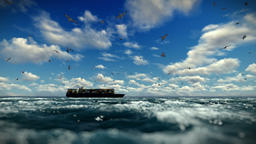 Cargo ship sailing, time lapse clouds and seagulls, sound included Animation