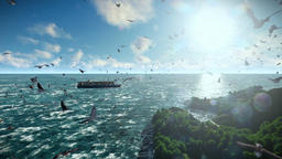 Cargo ship sailing and seagulls, with sound Animation