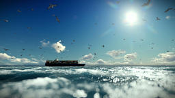 Cargo ship sailing, timelapse clouds and seagulls, sound included Animation