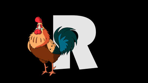 Letter R and Rooster (foreground) Animation