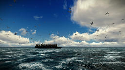 Cargo ship sailing, time lapse clouds and seagulls, tilt, sound included Animation