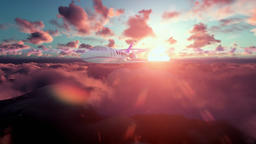 Cessna airplane above clouds at sunset Animation