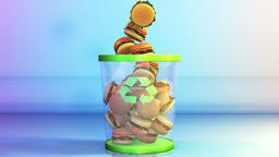 Cheeseburgers falling in a Garbage Bin, Dieting Concept Animation