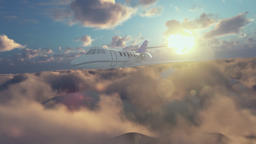 Cessna airplane flying above clouds at sunset Animation