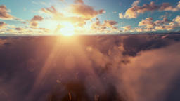 Cessna aircraft passing, above clouds at sunset Animation