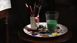 The draws a brush on using water painting Footage
