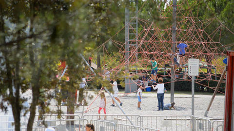 Kids Playing On A Huge Playground Live Action