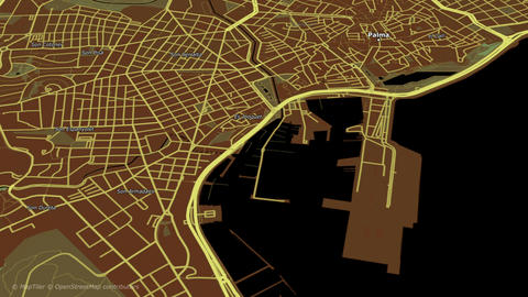 Aerial view of city . Camera flying high above, moving around city . 2d animation rendering Animation