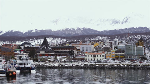 Port of the city of Ushuaia, Argentina. Ushuaia is the southernmost city in the World GIF
