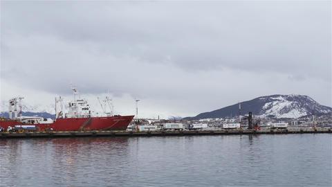 Cargo Ship, Port Of The City Of Ushuaia, Argentina Acción en vivo