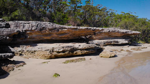 Jervis Bay in Australia Scenic Rocky Shore and Clear Ocean Water Live Action