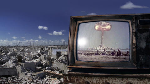 Nuclear Bomb Test on a Retro TV GIF