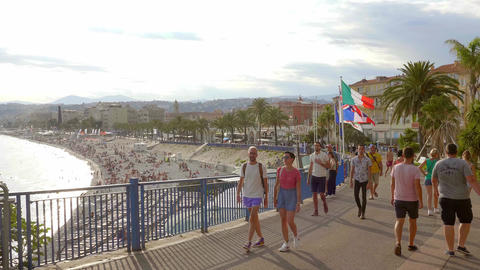 Tourists in Nice - a popular city in summer - CITY OF NICE, FRANCE - JULY 10 Live Action