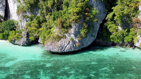 Amazing coastline of Phi Phi Don, Thailand. Aerial view on a beautiful sunny day GIF