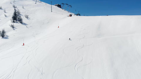 One person skiing on snow in Sestriere ski resort Turin Italy Live Action