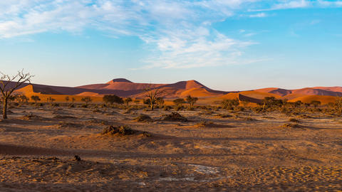 Panorama on colorful sand dunes and scenic landscape in the Namib desert Namibia Africa 3 Live Action