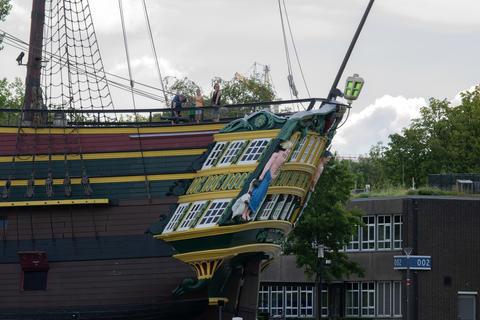 Backside The Doen VOC Ship At The Scheepvaartmuseum Amsterdam The Netherlands 22-7-2020 フォト