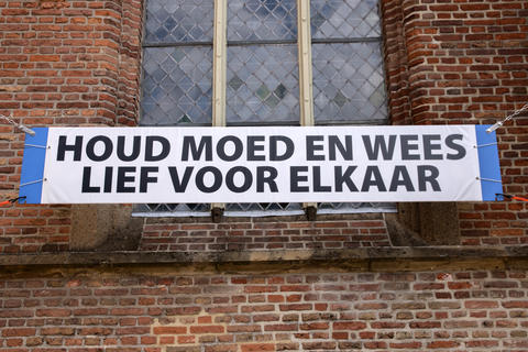 Corona Billboard At The Grote Or Saints Laurenskerk Church At Weesp The Netherlands 20-7-2020 フォト