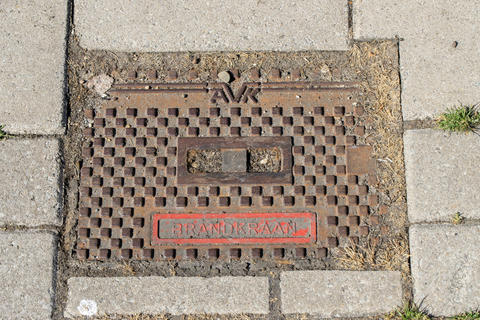 Fire Hydrant Plate At Amsterdam The Netherlands 27-52020 フォト