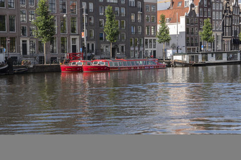Hop On Hop Of Canal Cruise Boat At The Amstel River AT Amsterdam The Netherlands 22-7-2020 フォト