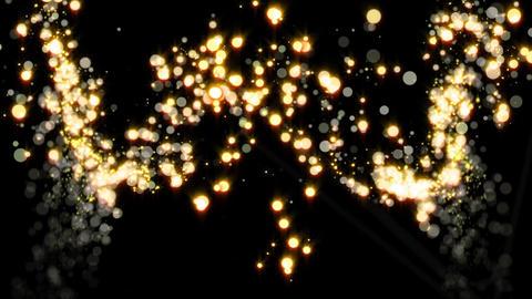 左右から湧き上がる金色のキラキラパーティクル CG動画