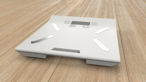 Electronic weight scales on the floor and weight loss concept with diet Live Action