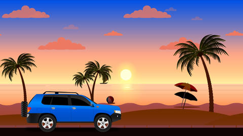 Car moving by beach landscape animation Animation
