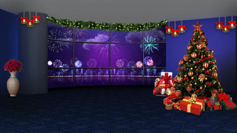 Christmas TV Studio Set 46 - Virtual Green Screen Background Loop ライブ動画