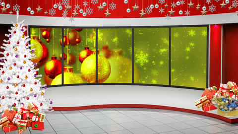 Christmas TV Studio Set 48 - Virtual Green Screen Background Loop ライブ動画