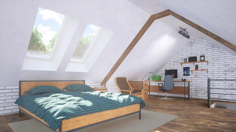 Modern bedroom in attic with bed and home office GIF