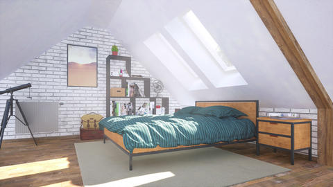 Interior of comfortable modern bedroom in attic 3D GIF