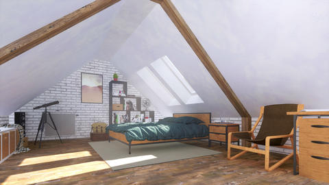 Bachelor interior of cozy modern bedroom on attic 3D GIF