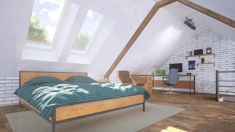 Bright bedroom in attic with bed and home office GIF