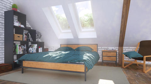 Cozy modern bedroom in attic with double bed 3D GIF