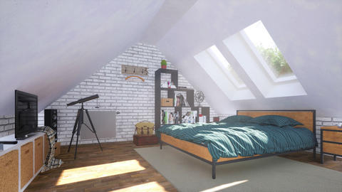Bright modern bedroom interior in attic room 3D Live Action