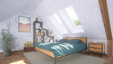 Double bed in modern bedroom interior in attic 3D GIF