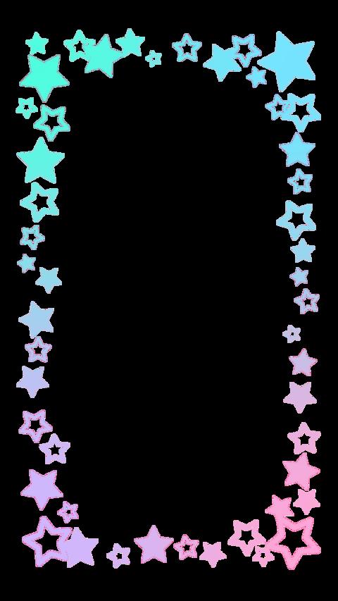 レインボーカラーがキュートな星のアニメーションフレームSNSに最適な縦型サイズ CG動画